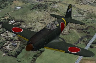 Screenshot of Mitsubishi J2M3 (3D-152) in flight.
