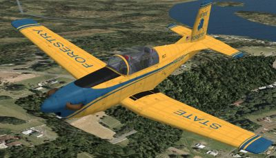 Screenshot of yellow Pilatus PC-7 in flight.
