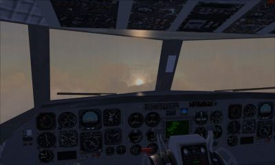 Screenshot from inside the Convair 580 cockpit.