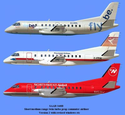 Picture of three different liveries for the Saab 340B.