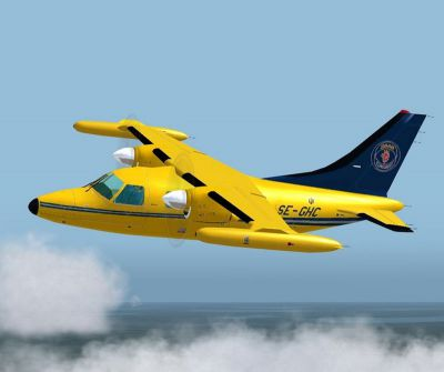 Screenshot of Saab Technologies Mitsubishi MU-2K in flight.