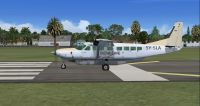 Screenshot of SafariLink Cessna 208B Grand Caravan on runway.
