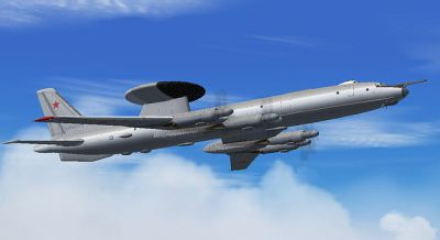 Screenshot of Samdim Design Tupolev Tu-114 in flight.