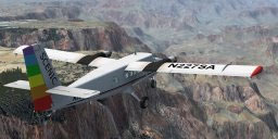 Screenshot of Scenic Airlines DeHavilland Twin Otter flying over canyons.