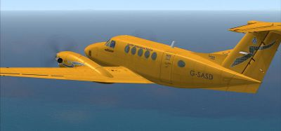 Screenshot of Scottish Ambulance Service Beech 200 in flight.