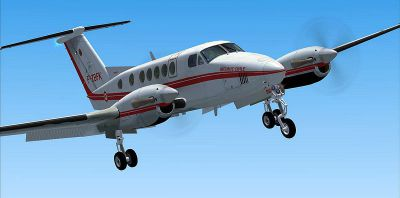 Screenshot of Securite Civile Beechcraft King Air 200 in the air with landing gear lowered.