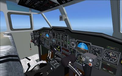 Virtual cockpit of Shorts Sherpa Twin Turboprop STOL Transport.