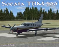 Screenshot of Socata TBM 700 on runway.