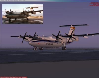 Screenshot of Spantax DeHavilland Dash 7 on the ground, with a photograph for comparison.