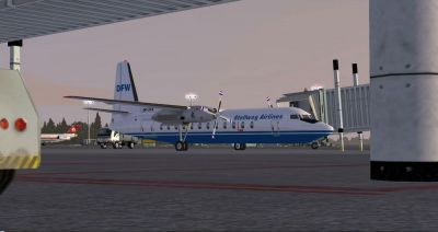 Screenshot of Stellweg Airlines Fokker F-27 DF-WFS at the gate.