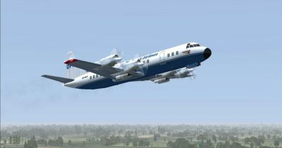 Screenshot of Stellweg Airlines Lockheed Electra DF-WLC in flight.