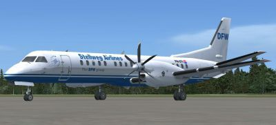 Screenshot of Stellweg Airlines Saab 2000 on the ground.