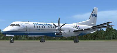 Screenshot of Stellweg Airlines Saab 2000 on the ground.