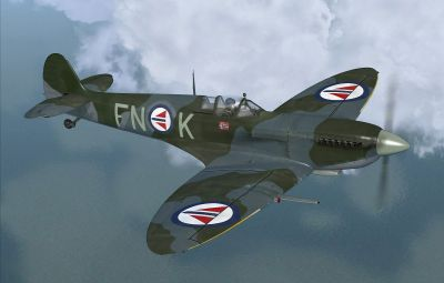 "Screenshot of Supermarine Spitfire IX ""FN-K"" in flight."