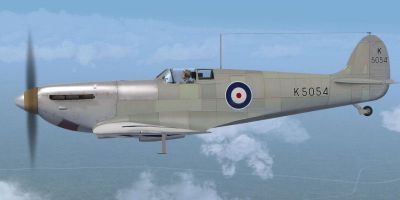 Side view of Supermarine Spitfire MK IA Prototype K5054 1 in flight.