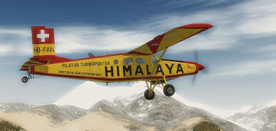 Screenshot of Swiss Himalaya Expedition PC-6C in flight.