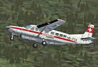 Screenshot of Swissair-Cargo Cessna 208 in flight.