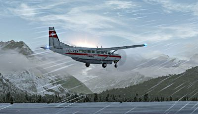 Screenshot of Swissair-Cargo Cessna 208 flying in harsh weather.