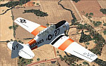 Screenshot of T-6G Texan in flight.