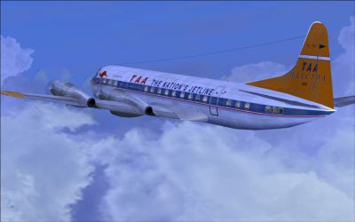 Screenshot of TAA Lockheed L-188 Electra II in flight.