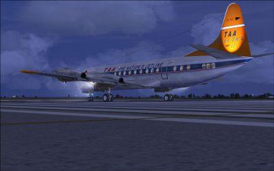 Screenshot of TAA Lockheed L-188 Electra II on runway.