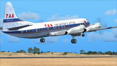 Screenshot of TAA Lockheed L-188 Electra taking off (right side).