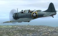 Screenshot of US Navy Douglas SBD Dauntless in flight.