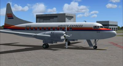 Screenshot of United Express Convair 580 on the ground (right side).