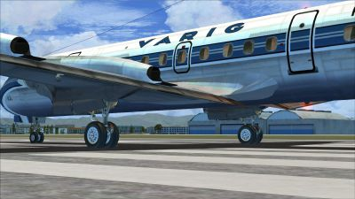 Screenshot of Varig Lockheed L-188 on runway.