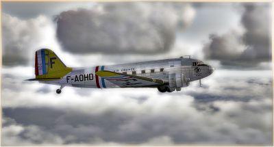 Screenshot of C-47 F-AOHD in flight.
