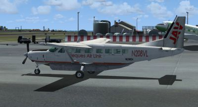 Screenshot of (old) Vieques Air Link Cessna 208 Caravan on the ground.