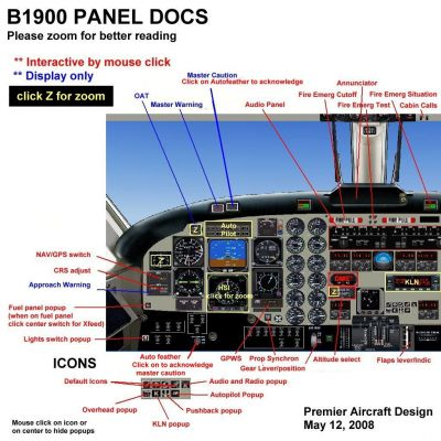 Vincent Aviation Beechcraft B1900D panel.