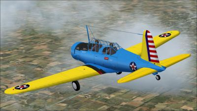 Screenshot of a blue and yellow Vultee BT-13 in flight.
