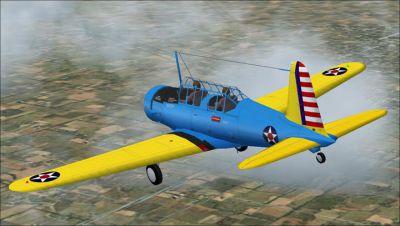 Screenshot of a blue and yellow Vultee BT-13 in flight.
