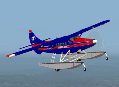 Screenshot of Ward Air DeHavilland DHC3 Turbo Otter in flight.
