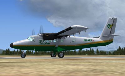 Screenshot of Yeti Airlines Twin Otter on runway.