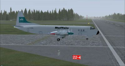 Screenshot of Buffalo Airways Lockheed Electra taxiing to runway.