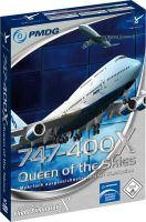 The PMDG 747-400 X physical box artwork.