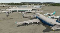 A United 747 at an airport gate in X-Plane 10.