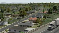 The Suburbs: Showing roads, buildings and trees.