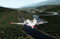 Aircraft landing using X-Plane on a Mac.