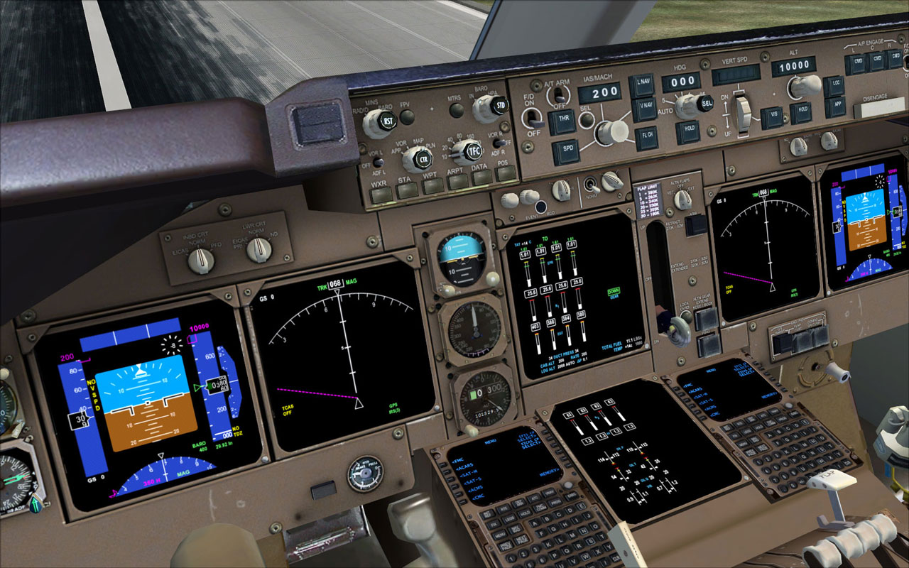 Home flight simulator set up - The Cockpit Of A Pmdg 747 It S Quite Realistic