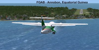 Plane approaching Annobon Airport.