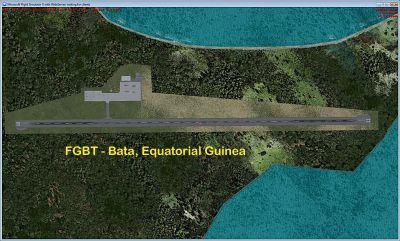 Aerial view of Bata Int'l Airport, Bata, Equatorial Guinea.