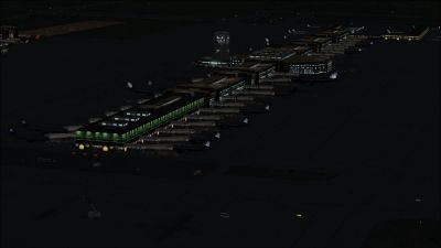 View of Denver International Airport at night.