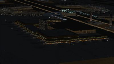 View of Dallas/Fort Worth International Airport at night.