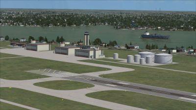View of Philadelphia International Airport runway.