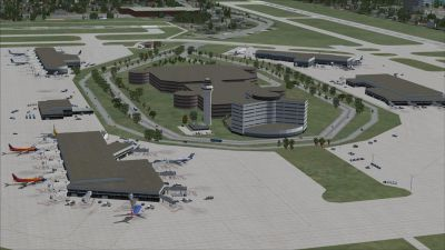 Aerial view of Tampa International Airport.
