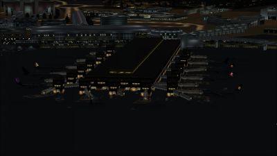 View of Fiumicino International Airport at night.