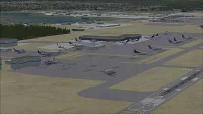 View of Stevens Anchorage International Airport and runway,
